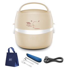 2 Layer Portable 220V Stainless Steel Electric Lunch Box Mini Rice Cooker Food Heater Warmer Container Home School Bento Box Set cukyi 1 9l portable electric cooker rice cooker home office enough for 2 4 persons water partition cooking three layer