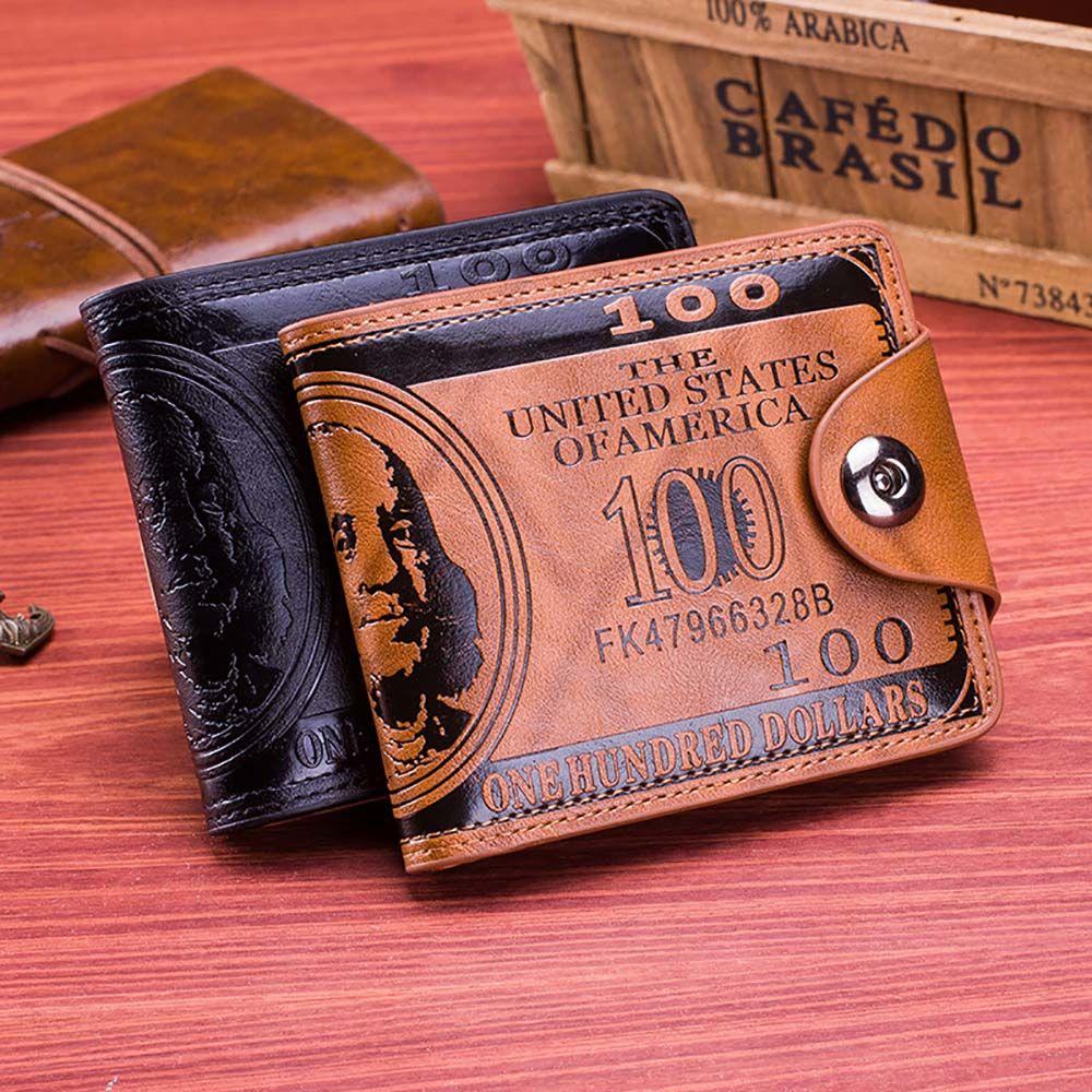 Cartera de diseño Vintage para hombre y mujer, monedero pequeño de 2019 dólares, tarjetero de cuero, billeteras de estilo Retro, 100