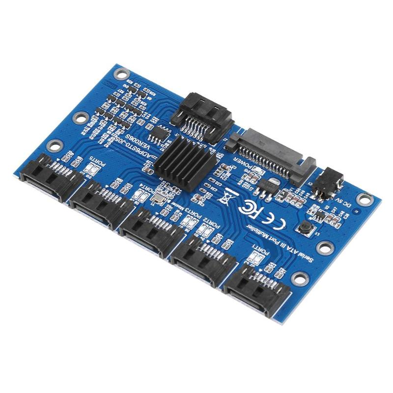 HOT-Controller Card Motherboard Sata Expansion Card 1 To 5 Port Sata3.0 6Gbps Multiplier Sata Port Riser Card Adapter For Comp