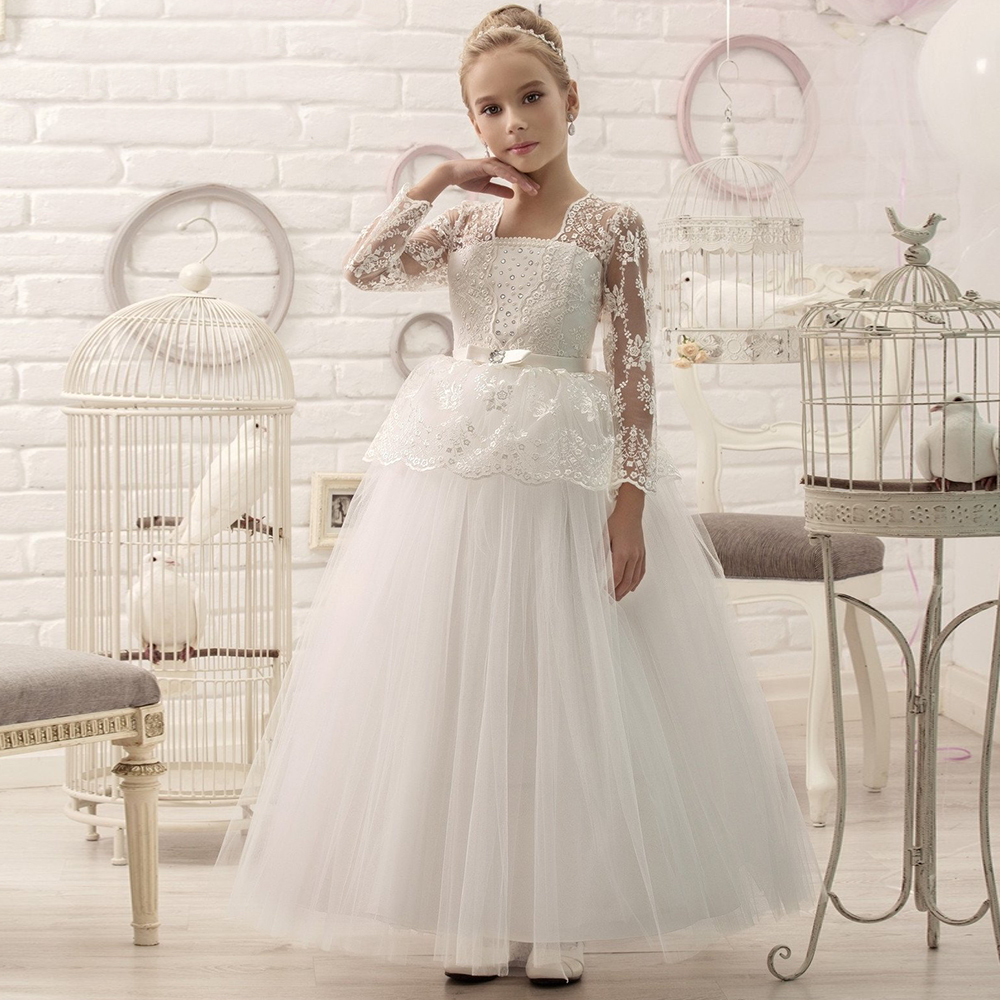 3/4 Sleeves 2019   Flower     Girl     Dresses   For Weddings Ball Gown Tulle Lace Beaded Long First Communion   Dresses   Little   Girl