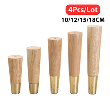 4pcs Solid Wooden Furniture legs Straight cone Sofa Table Feet Pure Copper Protective Cover Couch Dresser Armchair foot Oak Wood
