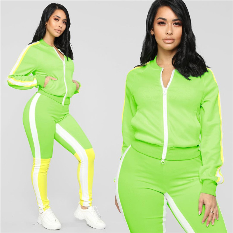 Adogirl Color Patchwork Women Two Piece Set Long Sleeve Zipper Jacket Skinny Pants Female Tracksuit Casual Outfits Streetwear