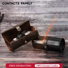 CONTACTS rodzina 100% skóra Crazy Horse zegarek rolka wyświetlacz pudełko na zegarki przenośny zegarek w starym stylu przypadku uchwyt na zegarek na prezent