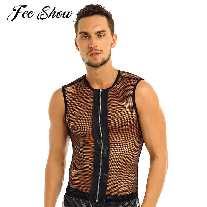 Sexy Mens Mouwloze See-through Mesh Visnet Rits Top T-Shirt Night Party Clubwear Exotische Tanks Slim Fit Stretchy Top t-shirt