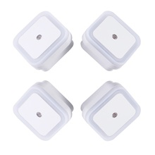 4PCS 1W LED Lamp Auto-control Light Sensor US Plug in Night for Kids Baby Nursery Bedroom Hallway Square Shape White