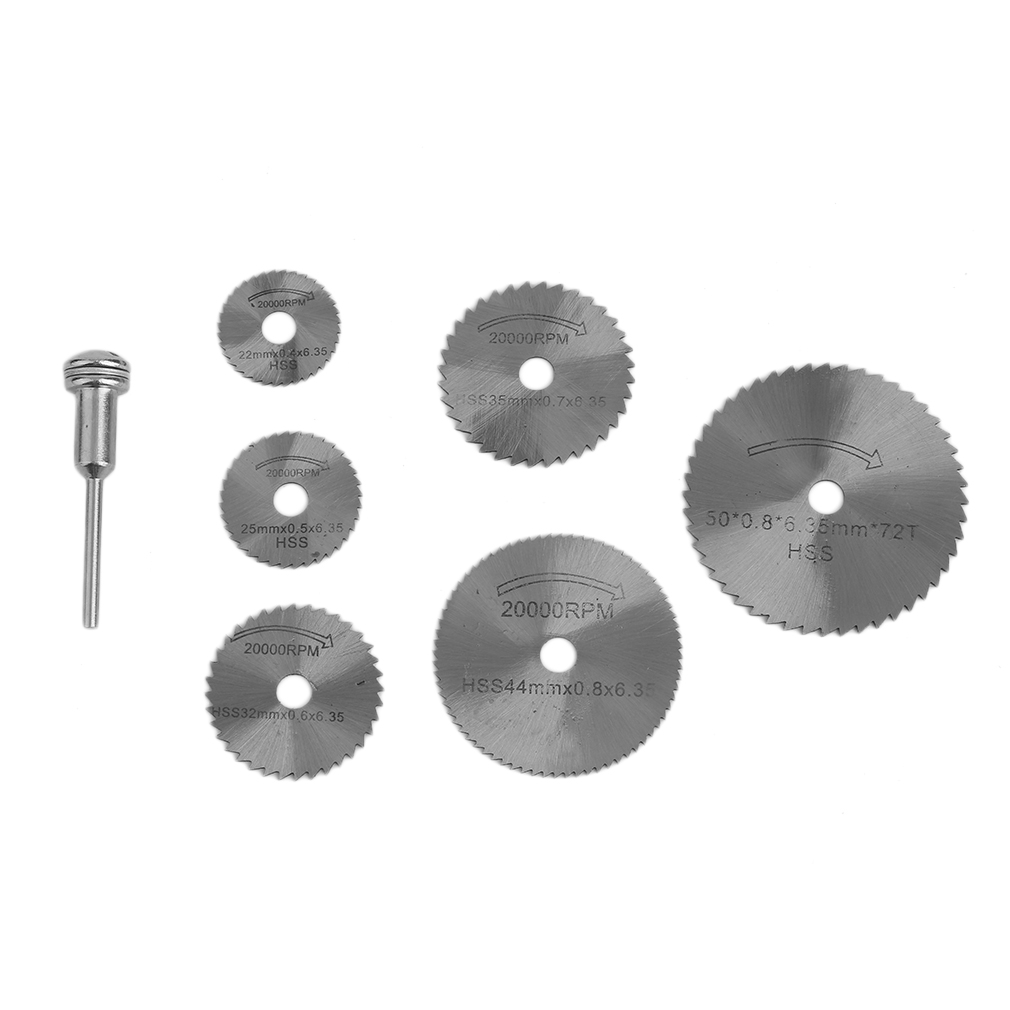 7pcs/set High Speed Steel HSS Circular Saw Blade Rotary Tool Cutting Discs For Wood Cutting Mandrel Cutoff Metal Cutter 6 Blades