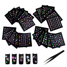 24 Sheets 3D Flower Nail Stickers Set for Women,Self-Adhesiv