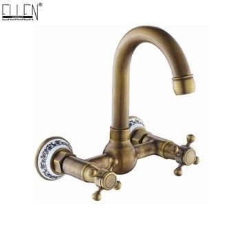 Ellen Wall Bath Faucet Hot Cold Water Mixer Bathtub Faucets 2 Handles Antique Bronze Wall Faucet EL207