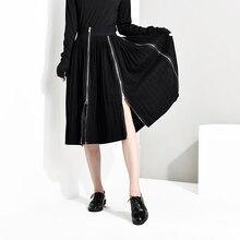 [EAM] Новинка, весенне-летняя юбка с высокой талией и черным подолом на молнии, необычная юбка средней длины, женская мода, JO2760
