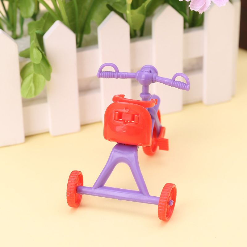 Doll Tricycle With Push Handle Kids Miniature Mini Toys Children Gifts Dollhouse Accessories Plastic Play Home Game Toy U50F