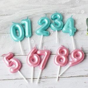 Image 3 - 1 pcs 새로운 생일 풍선 촛불 핑크 블루 캔들 생일 케이크 장식 0 9 번호 촛불 아이 생일 파티 장식을 선호한다