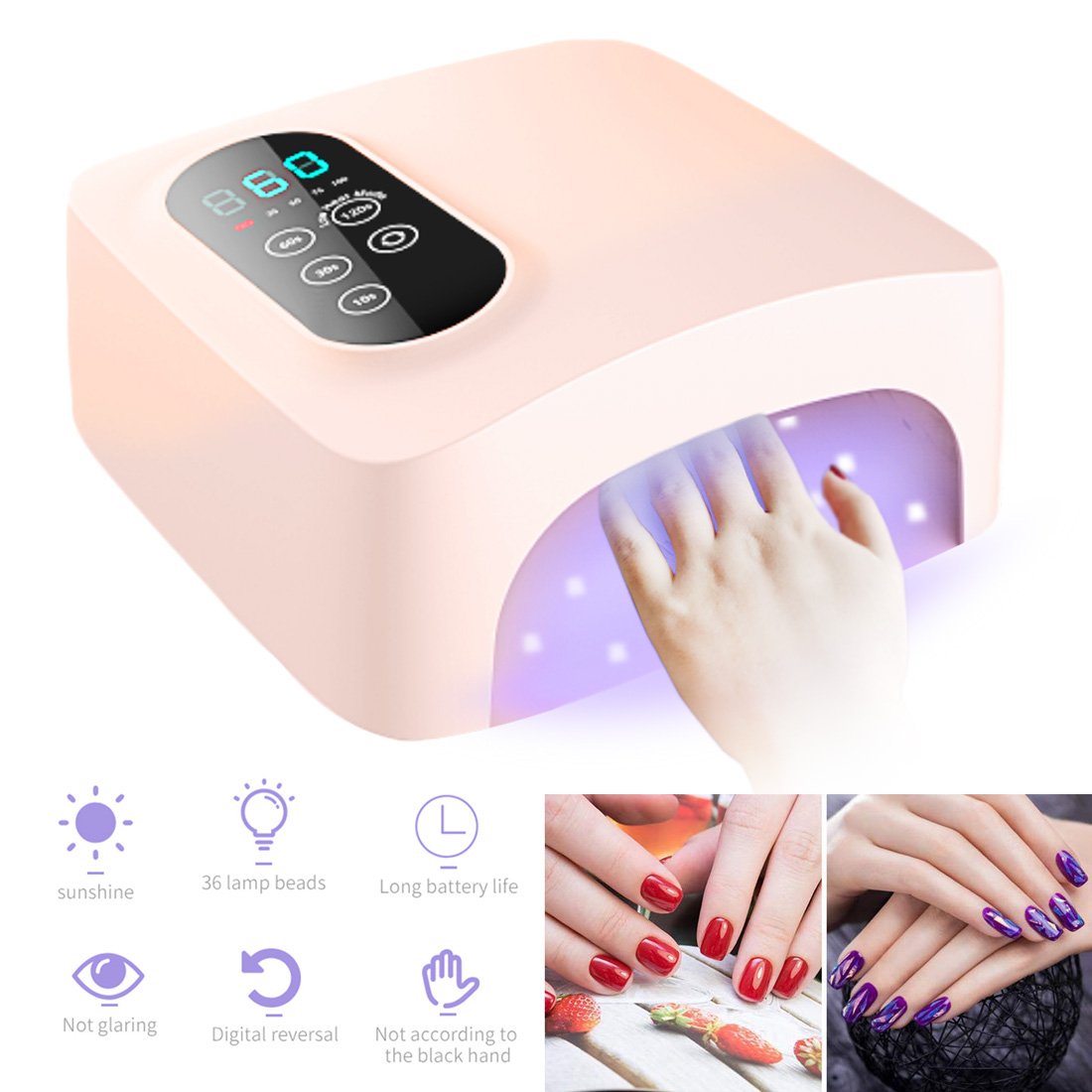 High-end Nail professional New wireless rechargeable nail lamp USB UV LED Nail Lamp Gel  Polish Dryer Light Curing Lamp Faster