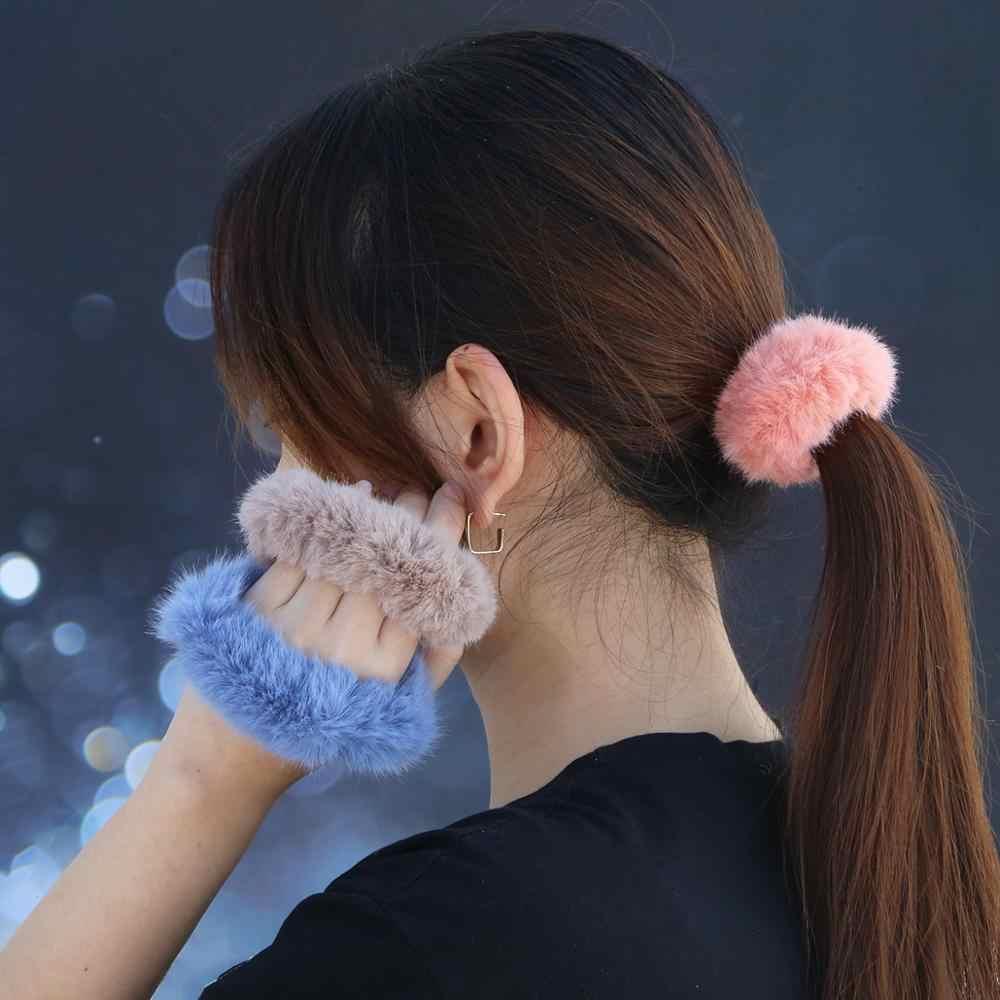 Wanita Rambut Band Aksesoris Hiasan Kepala Buatan Rabbit Rambut Bola Gadis Lucu Kepala Ekor Ekor Kuda Pemegang Tali Elastis Rambut Dasi