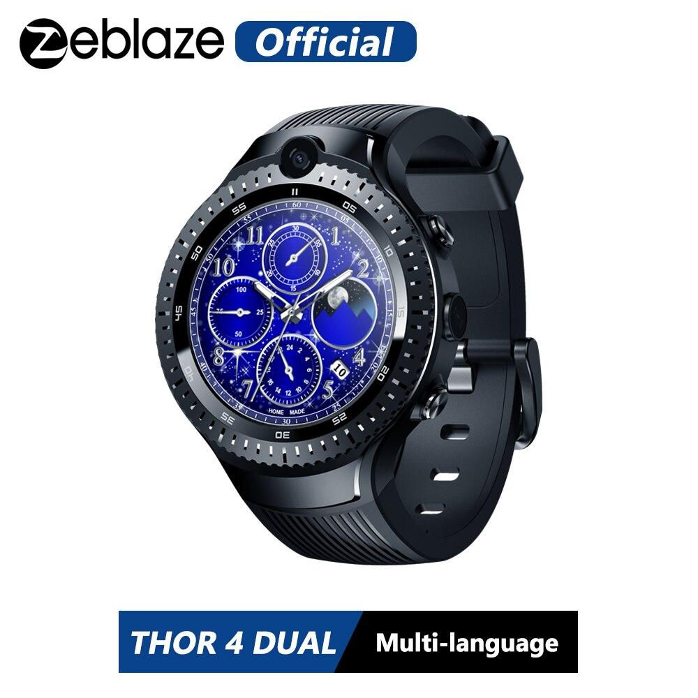 Recente zeblaze thor 4 duplo 4g smartwatch 5.0mp + 5.0mp câmera dupla relógio android 1.4