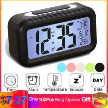 LED Digital Alarm Clock Multi-function Electronic Smart Digital LCD Display Intelligent Sensation Backlight Snooze Kids Clock