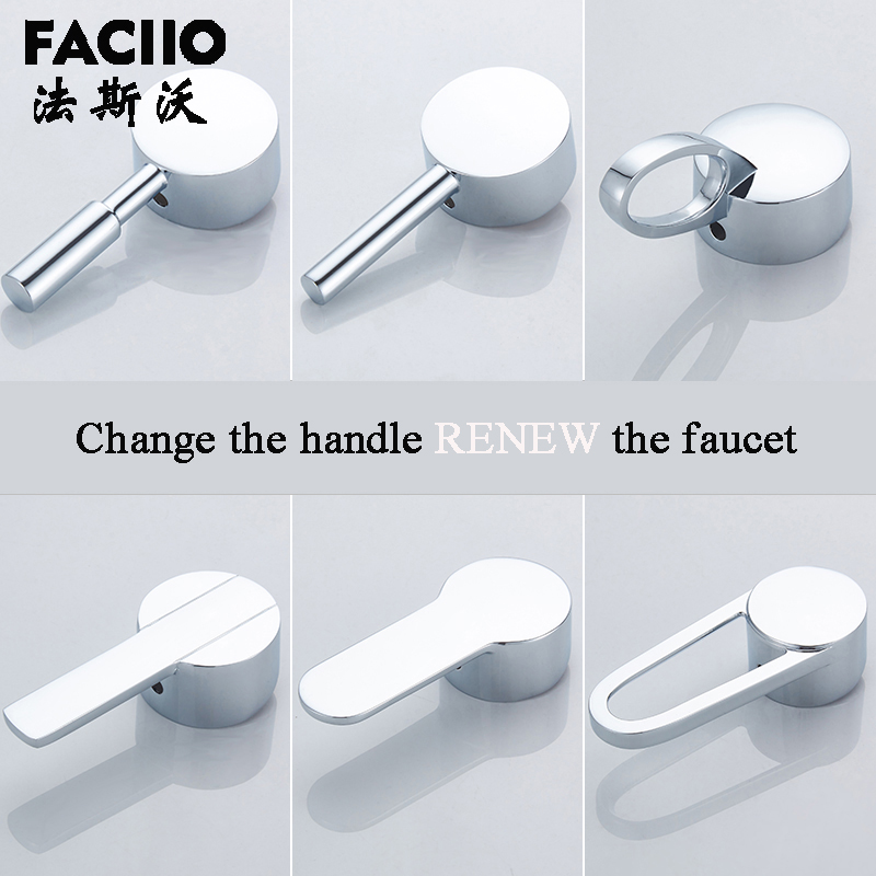 FACIIO Bathroom Replacement Faucet Handle Chrome Plated Faucet Accessories Basin Mixer For 35mm/40mm Cartridge Spool Faucet