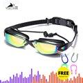 Профессиональные плавательные очки с Заглушки для ушей, зажим для носа гальванизированные Водонепроницаемые силиконовые очки для плавани...