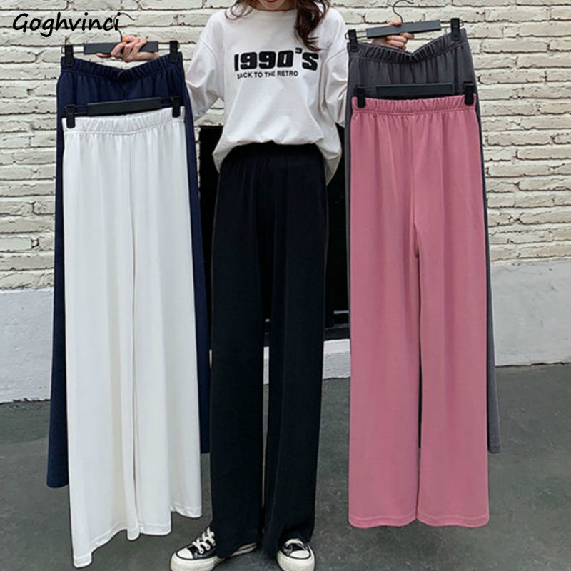 Casual Pants Women Wide Leg Trousers Solid Elastic Waist Loose High Waist Summer Students Simple All-match Korean Style Ulzzang