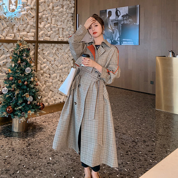 Brand New Plaid Trench Coat Women Long Double-Breasted Loose Oversize Duster Coat Windbreaker for Lady Female Outerwear Clothes 1