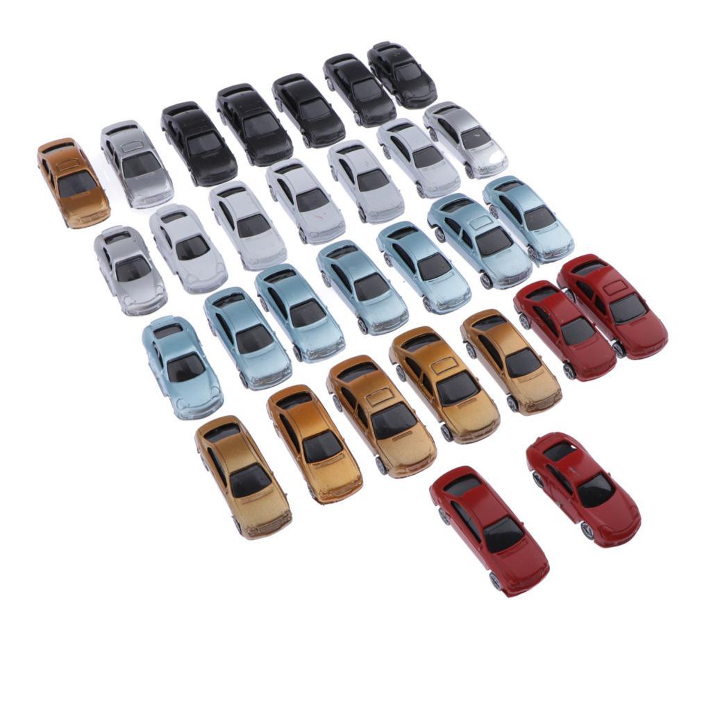 30 adet boyalı Model arabalar minyatür Model araba yapı tren düzeni ölçekli HO OO TT (1-100)