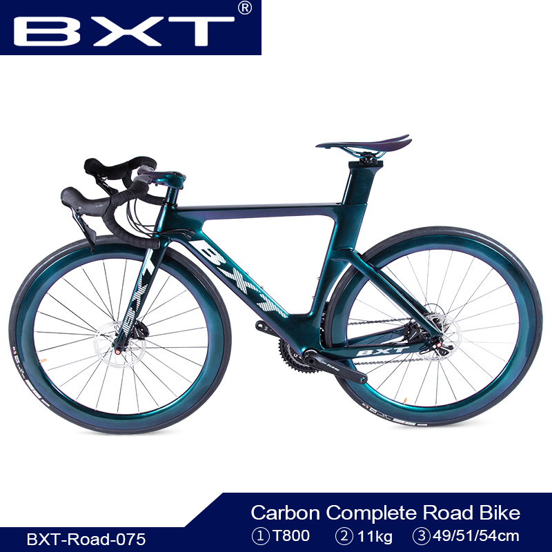 BXT T800 Carbon Road Bicycle 11Speed Road Bike 700C Carbon Road Bike Frame Double Disc Brakes Aero Complete Road Racing Bike