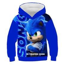 Sweat à capuche, dessin anim Sonic le hrisson, imprim en 3D, vtements Streetwear pour enfants, collection, automne et hiver
