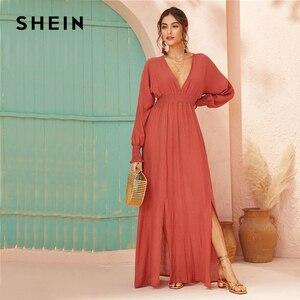 Image 5 - SHEIN Deep V Neck Red Solid Shirred Waist Split Hem A Line Dress Women 2019 Autumn Holiday Long Sleeve Ladies Boho Maxi Dresses