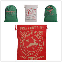 2019 New Party Supplies Santa Sack Canvas Christmas Gift Bags 50*70cm elk Drawstring bag 4pcs/ lot Cartoon Vintage 20style Xmas