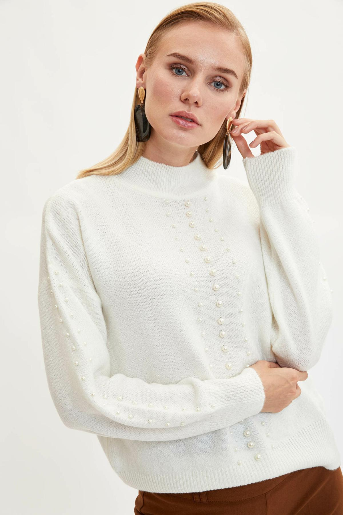 DeFacto Woman Simple Pure Color Crewneck Pearl Loose Pullovers Long Sleeves Casual Pullover Women Autumn New - L0916AZ19WN