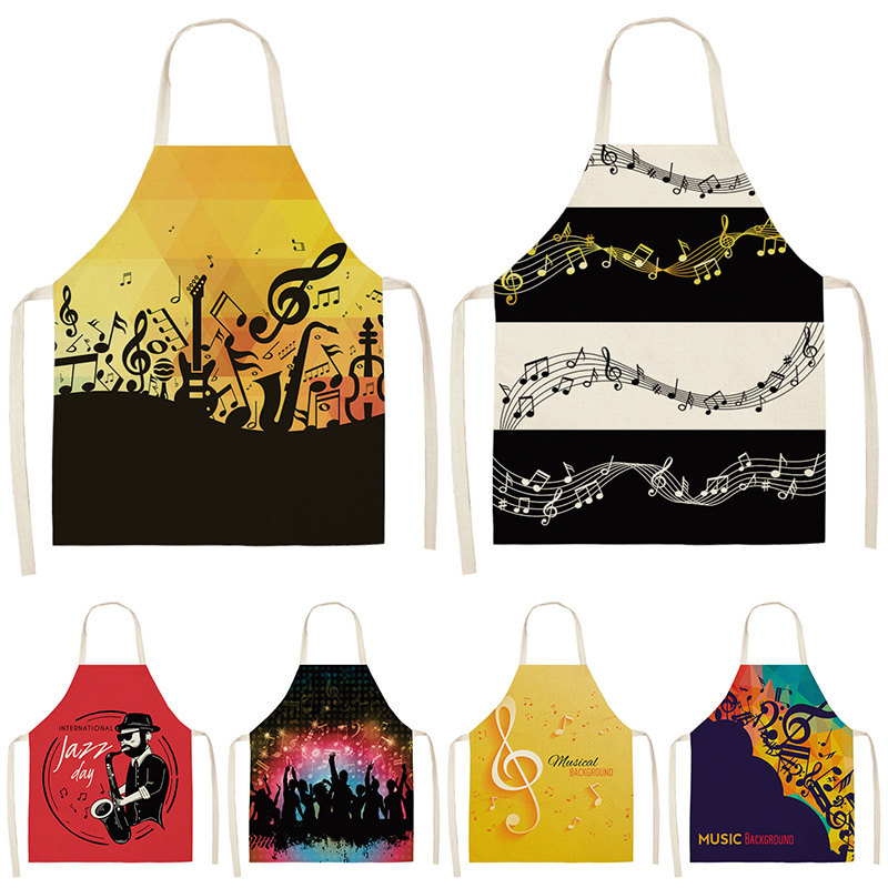 Music Note Kitchen Sleeveless Aprons For Women Cotton Linen Bibs Household Cleaning Pinafore Home Cooking Apron 53*65cm WQL0195