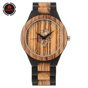 REDFIRE, винтажные модные деревянные мужские часы, минималистичные, необычные, резной циферблат, крутые мужские деревянные наручные часы, квар...