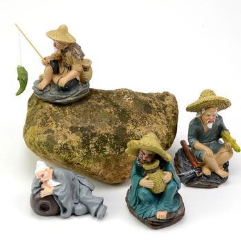 Fish tank decorations resin simulation ornaments fisherman old man flower  bonsai home craft ornaments