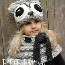 Cute Animal Owl Kids Winter Hats Girls Boys Children Crochet Warm Cap Scarf Set Baby Bonnet Cartton Hat for Girl Boy