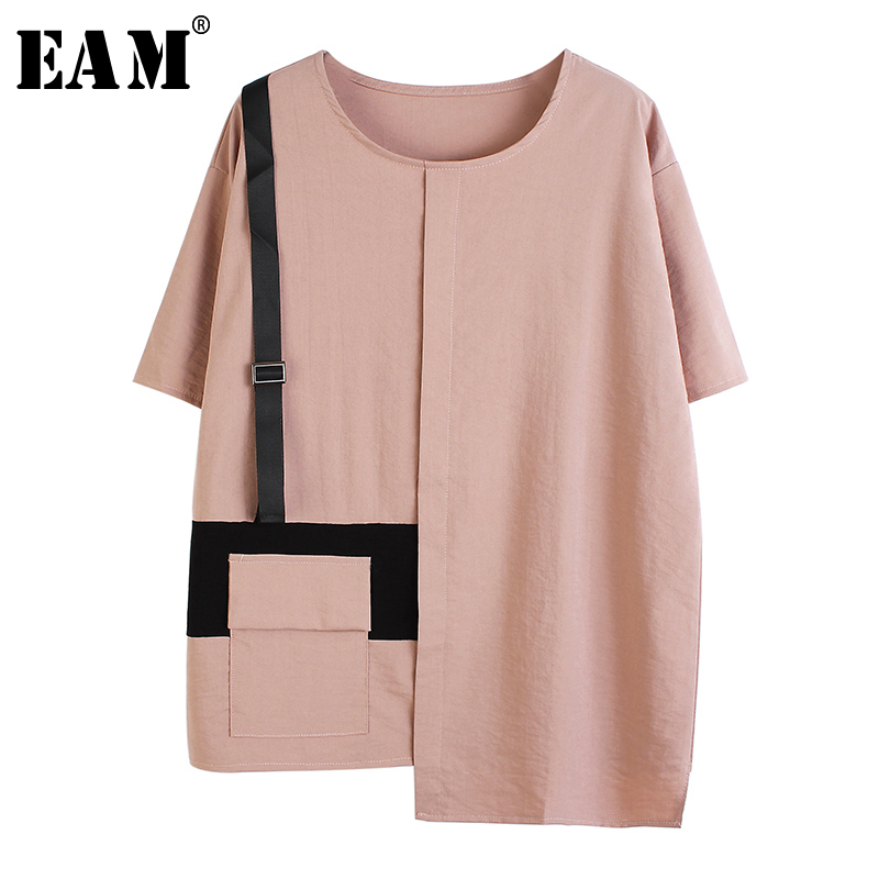 [EAM] Women Black Pocket Asymmetrical Split Big Size T-shirt New Round Neck Half Sleeve  Fashion Tide  Spring Summer 2020 1T506