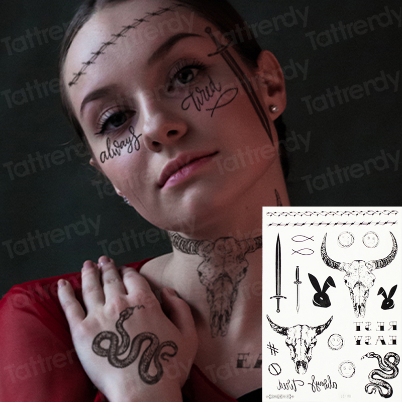 Henna Temporary Tattoo Sticker Snake Cattle Tattoo Letters Designs Tribal Temporary Face Tattoos Women Finger Neck Tattoos Men