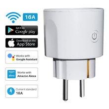 Умная штепсельная Вилка питания WiFi 16A ЕС умная синхронная розетка Tuya приложение дистанционное управление голосовым управлением работает с Alexa Google Home Mini