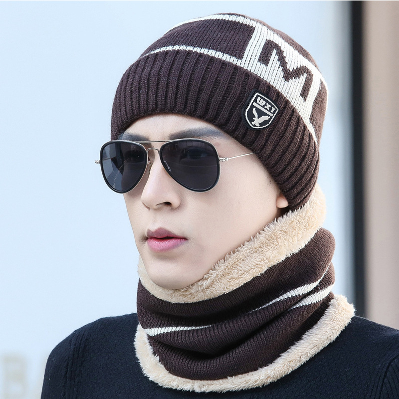 New Winter Knitted Hats Scarf Set Winter Cap Beanie Thick Neck Warm Wool Bonnet Skullies Beanies For Men Women Knitted Hat