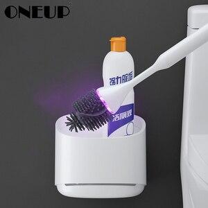 Image 1 - Oneup uv esterilização toalete escova titular cabeça de borracha escova de limpeza para banheiro doméstico piso limpeza acessórios do banheiro