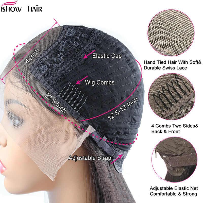 4x4 głęboka koronkowa fala zamknięcie peruka brazylijski koronki przodu peruki z ludzkich włosów pre-oskubane z dzieckiem włosy Ishow Remy kręcone koronkowa peruka na przód