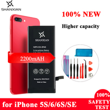 Buy SHANXIAN Premium Battery for iPhone 5S 6 6S SE Replacement Battery High Capacity Lithium Internal Bateria SE 6 2200mAh Free Tool directly from merchant!