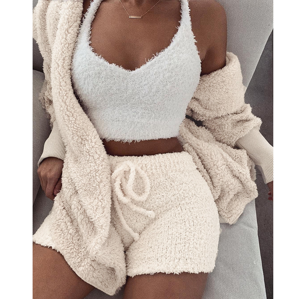 Echoine Autumn Winter Faux Fur Coat Shorts 2 Piece Set Fur Jacket Female Plush Overcoat Casual Teddy Outwear Women Matching Set