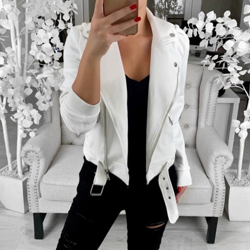 2019 Autumn Women Turn-down Collar Slim Cool Lady   Jackets   Female Zipper Femme Outwear Plus Size Coats Long Sleeve   Basic     Jacket