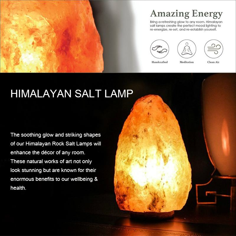Natural Hand Carved AU Plug Wooden Base Himalayan Crystal Rock Salt Lamp Air Purifier Night Light Dimmer Switch NightLight 2-3KG