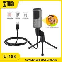 Xtuga usb конденсаторный микрофон компьютерный Встроенный монитор
