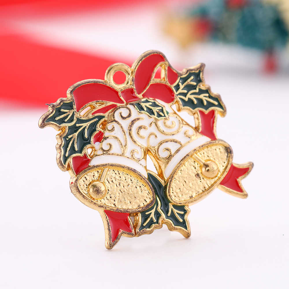 Dawapara Wholesale 5pcs/Lot Gold Silver Santa Claus Bells Apple Charms For Christmas Jewelry Making Charms For Earring