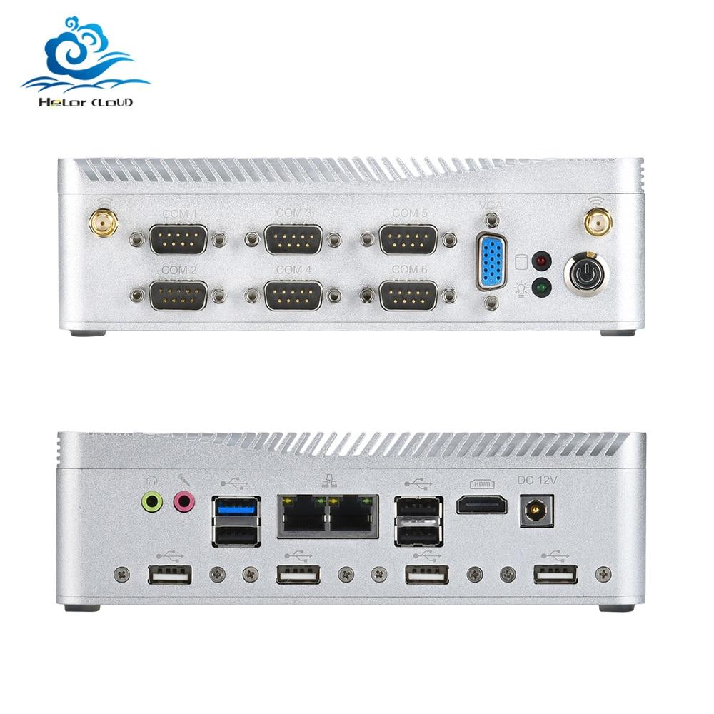 HLY безвентиляторный мини ПК Celeron J1900 2 * Gigabit LAN микро компьютер Linux MINIPC Windows промышленный брандмауэр тонкий клиент Sobremesa