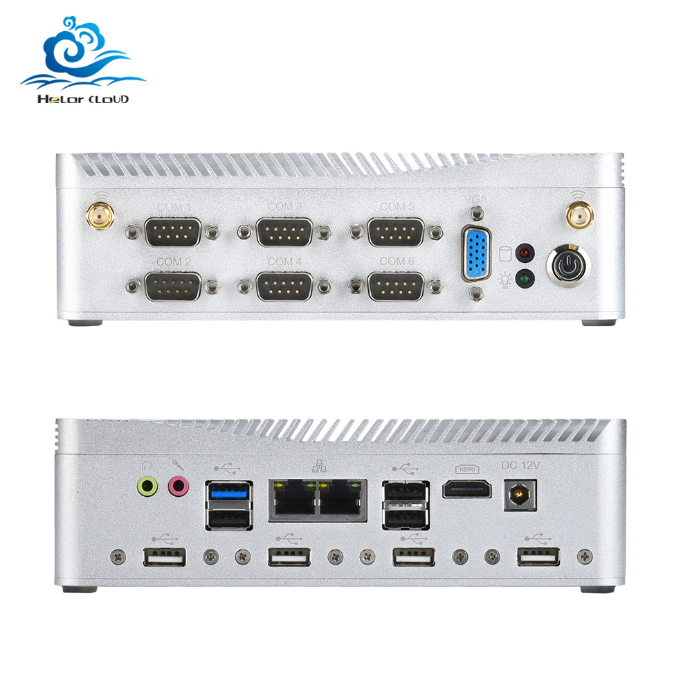 HLY Fanless Mini PC Celeron J1900 2*Gigabit LAN Micro Computer Linux MINIPC Windows Industrial Firewall Thin Client Sobremesa