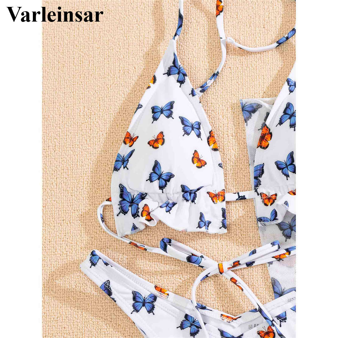 New Halter Butterfly Printed Bikini Female Swimsuit Women Swimwear Three-pieces Bikini set With Sarong Bather Bathing Suit V2916 5