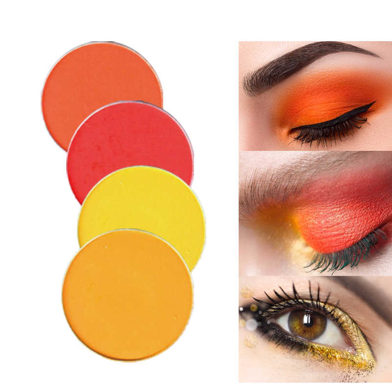 11.11 Warna Salon Kuning Coral Matte Glitter Eyeshadow Bubuk Berkilauan Warna Eye Shadow Palet Logam Eye Makeup Kosmetik