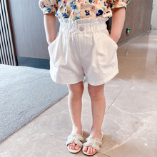 Lucashy 2021 Trendy Kids White Shorts Summer Sweet Baby Girls Casual Shorts Western Style Children Short Pants For 2-8Y